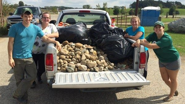 Collected rocks and debris